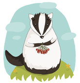 Illustration with cute cartoon badger — Stok Vektör