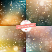 Set of blured backgrounds with soft bokeh effect — Stock Vector