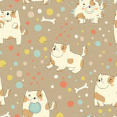 Bright children pattern with cute puppy — Stockvektor