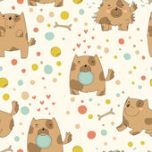 Bright children's pattern with cute puppy — Stok Vektör