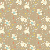 Bright children pattern with cute puppy — Stok Vektör