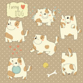 Set of funny cartoon dog — Vector de stock