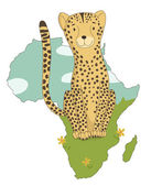 Cartoon cheetah on a background of africa — Stock Vector