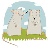 Vector illustration of cartoon rat — Stock Vector