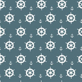 Seamless nautical pattern with white anchors and ship wheels — Stock Vector
