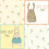 Set a happy Easter greeting card with cute bunny — Stock Vector