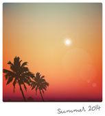 Yaz günü geçmiş palmiye ağacı ile — Stok Vektör