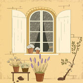 Window in house — Stock Vector