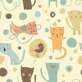 Cats and bird — Vector de stock
