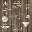 Retro elements for Summer Vintage labels — Stock Vector