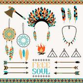 Arrows, Indian elements, Aztec borders — Stock Vector