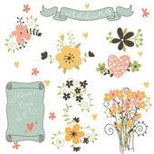 Retro flores em vetor. — Vetor de Stock