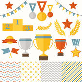 Trophy and winners icons set. — Stock Vector