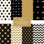Seamless black and gold patterns — Stock Vector