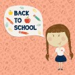 Little girl holding say back to school — Stock Vector #50337813