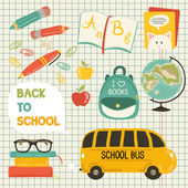 Cute school cartoon colection. ng of the school. Vector set — Vetorial Stock