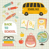 Cute school cartoon colection. ng of the school. Vector set — Διανυσματικό Αρχείο