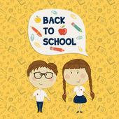 Young boy in glasses and little girl holding say back to school — Stock Vector