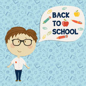 Young boy in glasses say back to school — Stock Vector