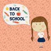 Little girl holding say back to school — Stock Vector