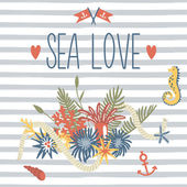 Deniz ve seni seviyorum — Stok Vektör
