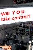 DC3 cockpit pilot hands control — Stock Photo