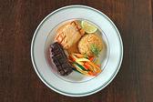 Steak and Salmon Dinner — Stock Photo
