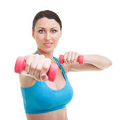 Happy woman working out - Isolated On White — Stock Photo