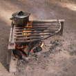 Cook pot over camp fire — Stock Photo #28692943