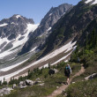 Stock Photo: Women Backpacking in North Cascades