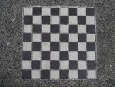 Zwart-wit dambord — Stockfoto