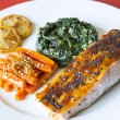 Salmon and Spinach — Stock Photo