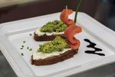 Salmon Boats, Avocado Paste — Stock Photo