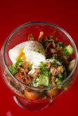 Salad with bacon and poached egg — Stock Photo