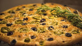 Italian Focaccia with Olives — Stock Photo