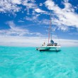 Catamaran in Bora Bora blue lagoon — Stock Photo