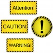 Warning, attention, caution — Stock Vector
