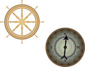 Wooden ships helm wheel and compass — Stock Vector