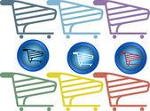 Shopping cart set — Stock Vector