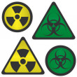Stock Vector: Signs Radiation and biological hazard