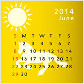 Calendario vettoriale 2014 giugno — Vettoriale Stock