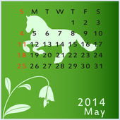 Vector calendar 2014 may — Vettoriale Stock