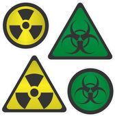 Signs Radiation and biological hazard — Stock Vector
