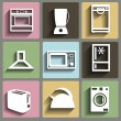 Kitchen and house appliances icons set — Imagen vectorial