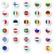 Europe union countries flags flat icons set — Stock Vector