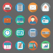 Stock Vector: Office flat icons set