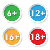 Set of age restriction flat icons — 图库矢量图片