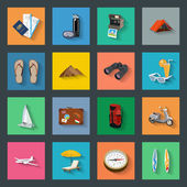 Tourism flat icons set — Stock Vector