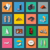 Tourism flat icons set — Vettoriale Stock