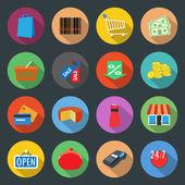 Set di icone piatta del mercato — Vettoriale Stock